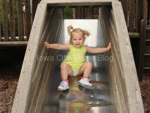 This should be a throwback Thursday photo! This is my now 4 1/2 year old enjoying the slides at Shimek a few summers ago.