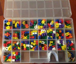 Sort your letter beads into a bead box like this one.
