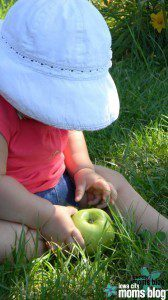 apple orchards baby with apple