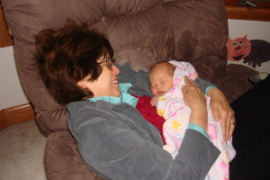 My mom getting to know one of the greatest miracles in my life. (A blog post for another day - my youngest truly was a miracle baby for me. My doctor told me that I had miscarried. But as you see, she made it nonetheless!)