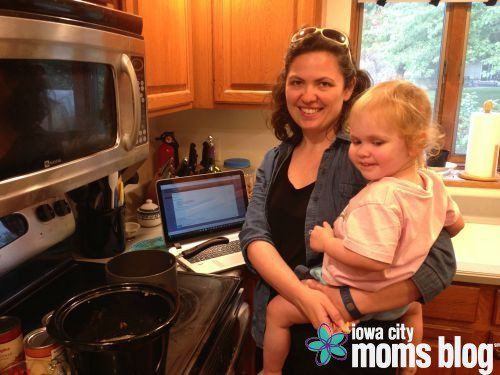 Toddler on the hip? Check. Dinner on the stove and in the oven? Check. Work emails on the laptop? Check. Just another night of the working mom balancing act.
