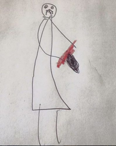 My daughter drew a picture for her daycare director. She is holding a 'bloody ax.'