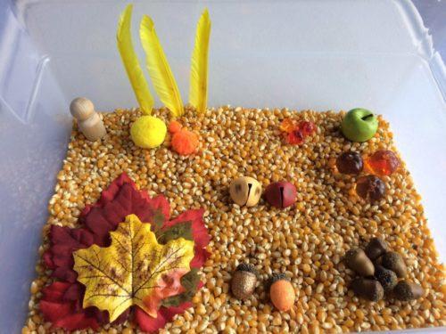 thanksgiving fall sensory box bin play