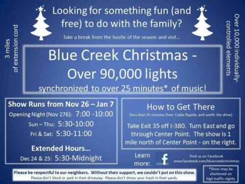 Blue Creek Christmas lights Iowa Center Point