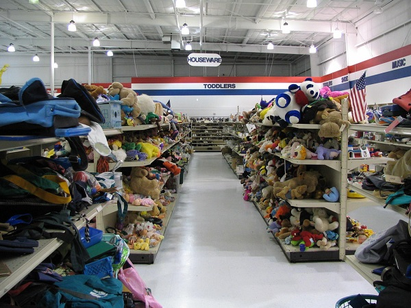 Photo: racks from secondhand shops in the Iowa City Area