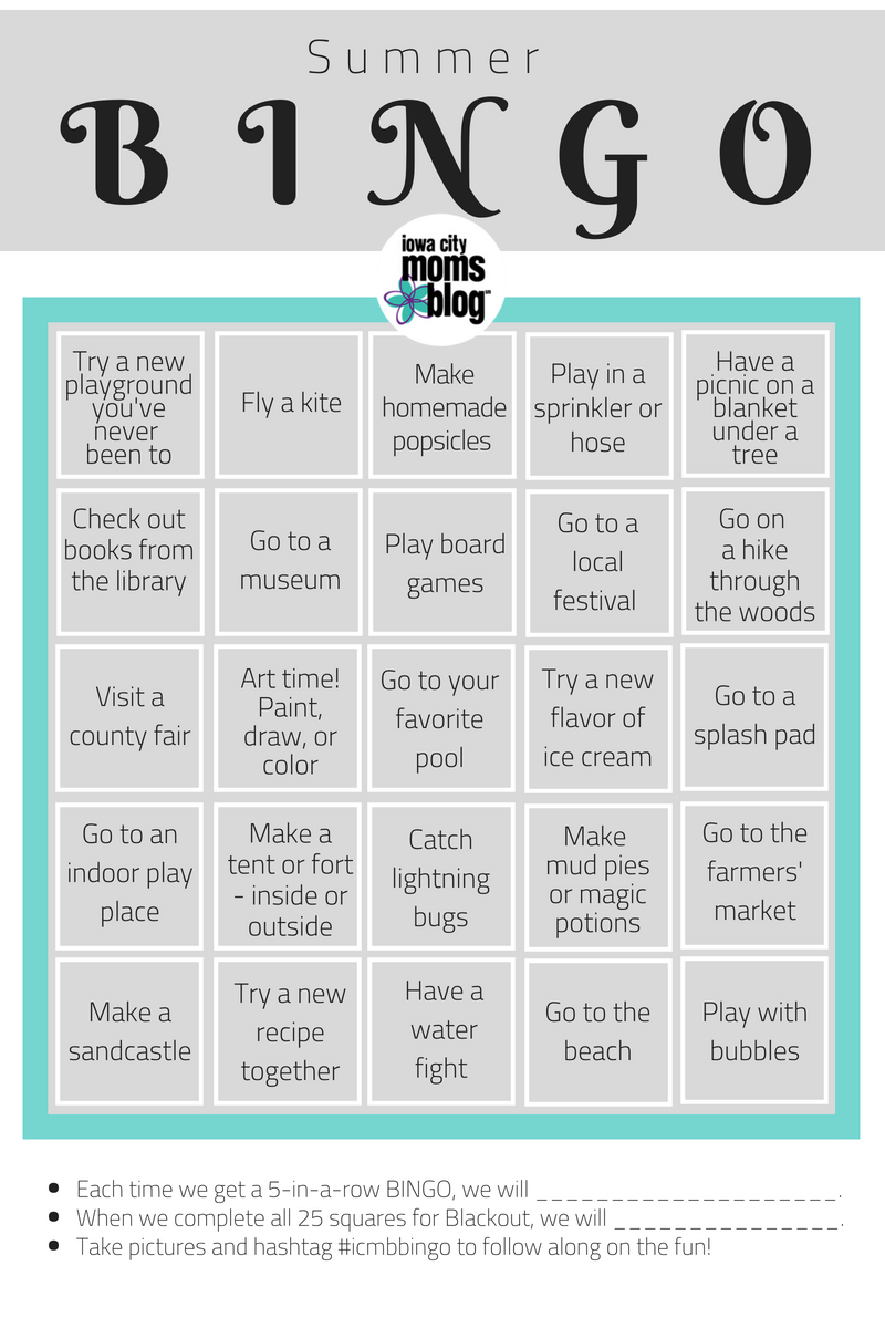 ICMB Summer BINGO card printable bucket list