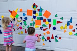 Magna-tiles + Garage Door =  Hours Of Summer Fun