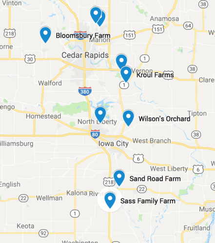 Map: Guide to Pumpking Patches and Apple Orchards in the Iowa City area.