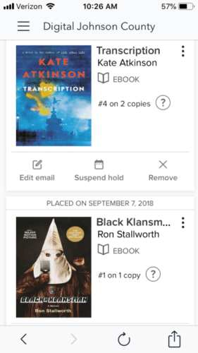 Image of waitlist holds on Overdrive