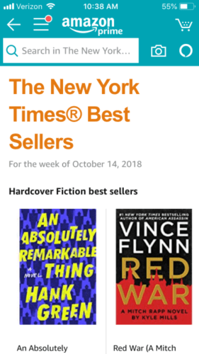 Image of New York Times Best Sellers on Amazon