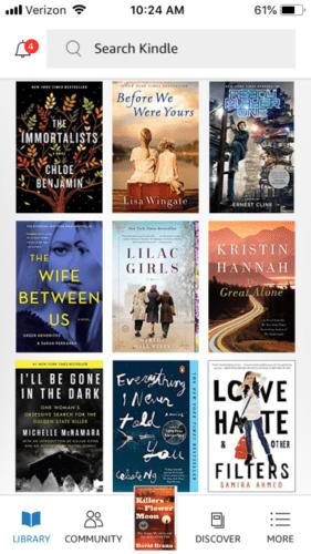 Image of books on Kindle
