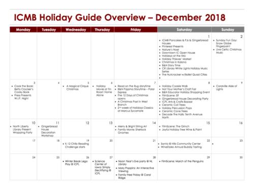 December Holiday Events Guide Calendar