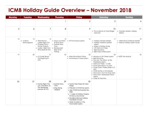 November Holiday Events Guide Calendar