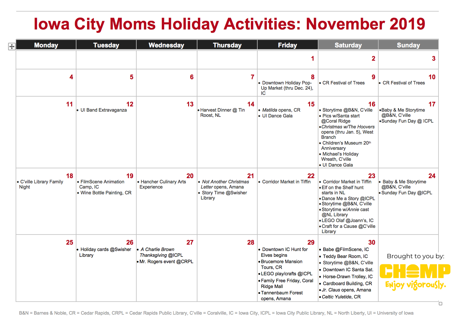 November family events for the Holidays 2019