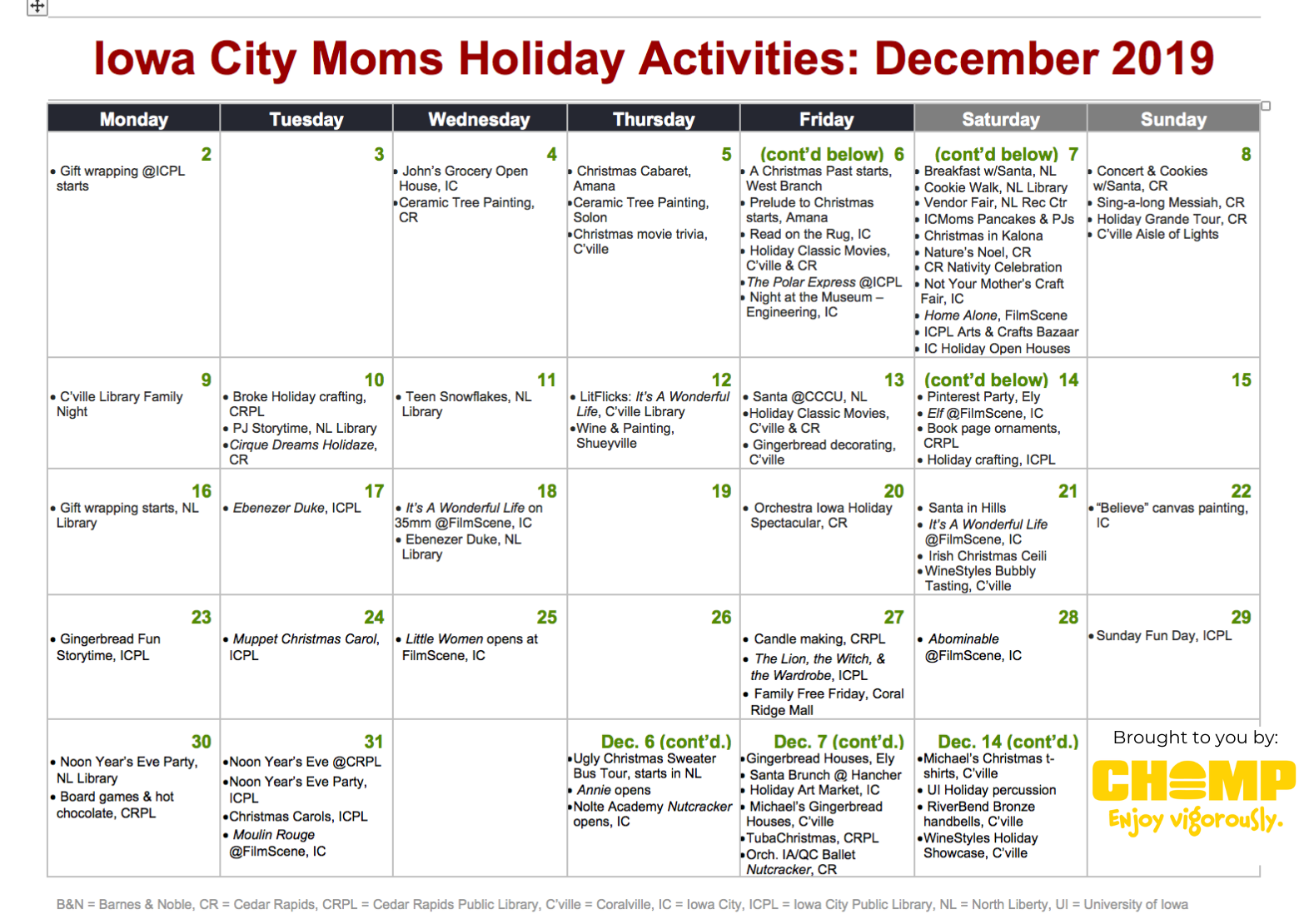 December Holiday Calendar