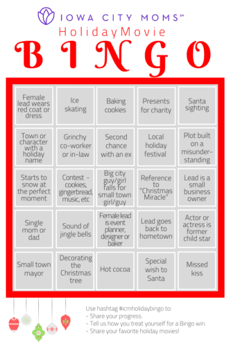 Holiday Movie BINGO Hallmark Christmas Movies