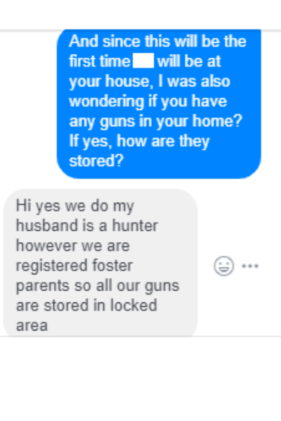 A text thread asking about guns before playdates