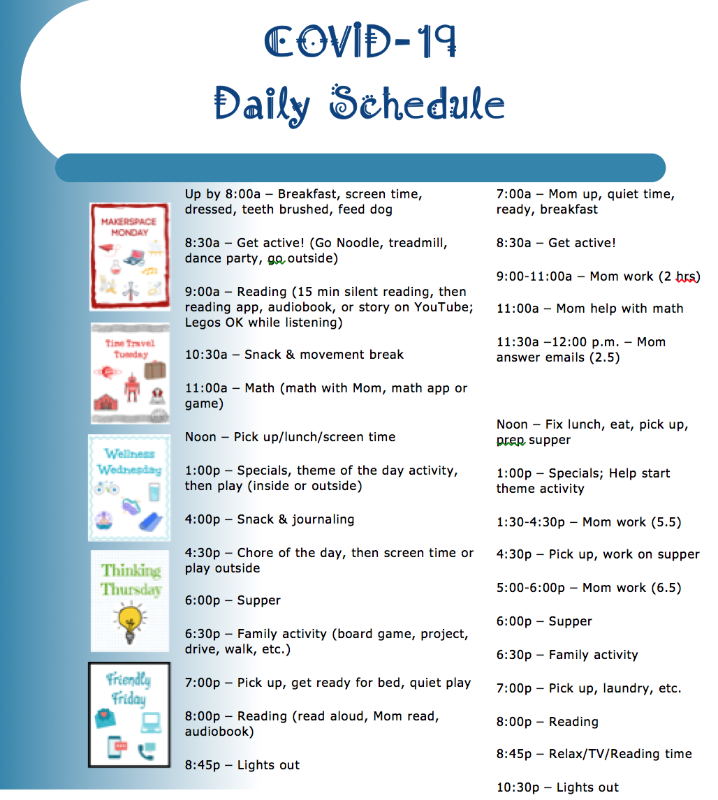 Educational Resources: an example of a schedule