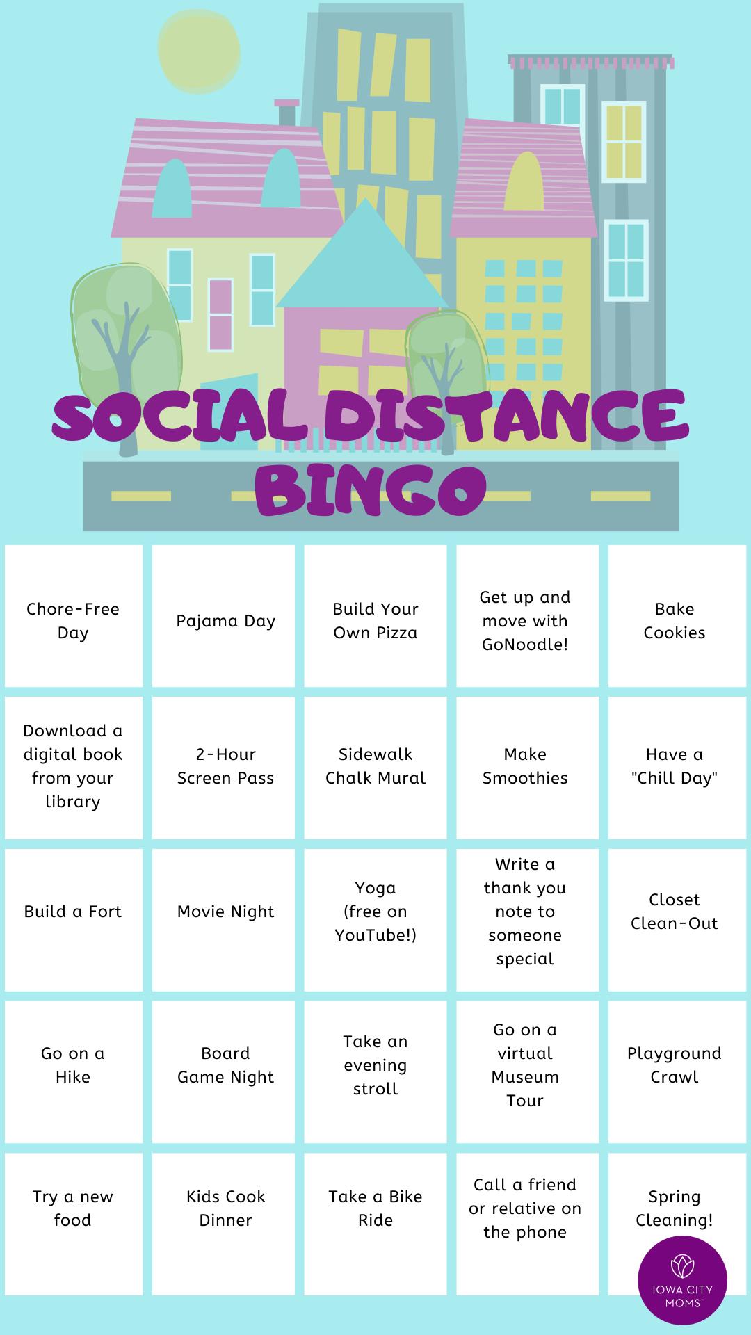 social distancing bingo card