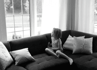 An image of a girl at home.
