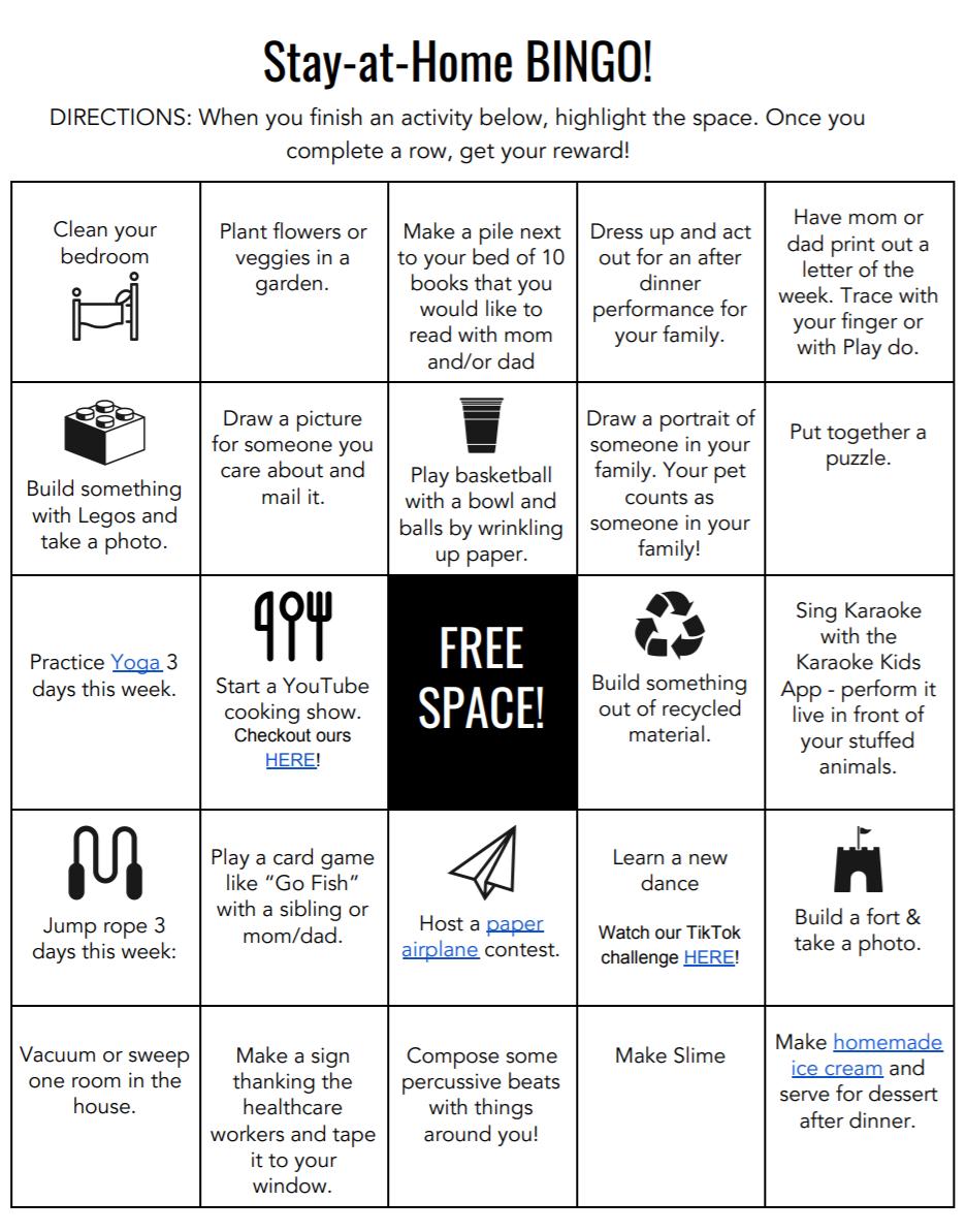 virtual learning bingo card