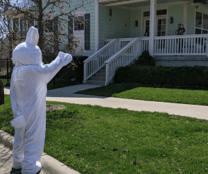 Easter Bunny House visits in the Iowa City area: bunny waving