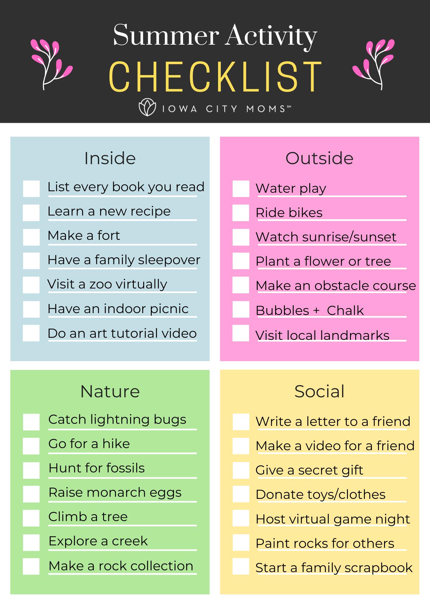 Summer Activity Checklist: Bucket List for Families