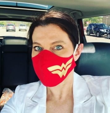 An image of a woman wearing a mask