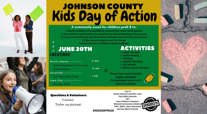 An image promoting Johnson County Kids Day of Action: Voices of Peace