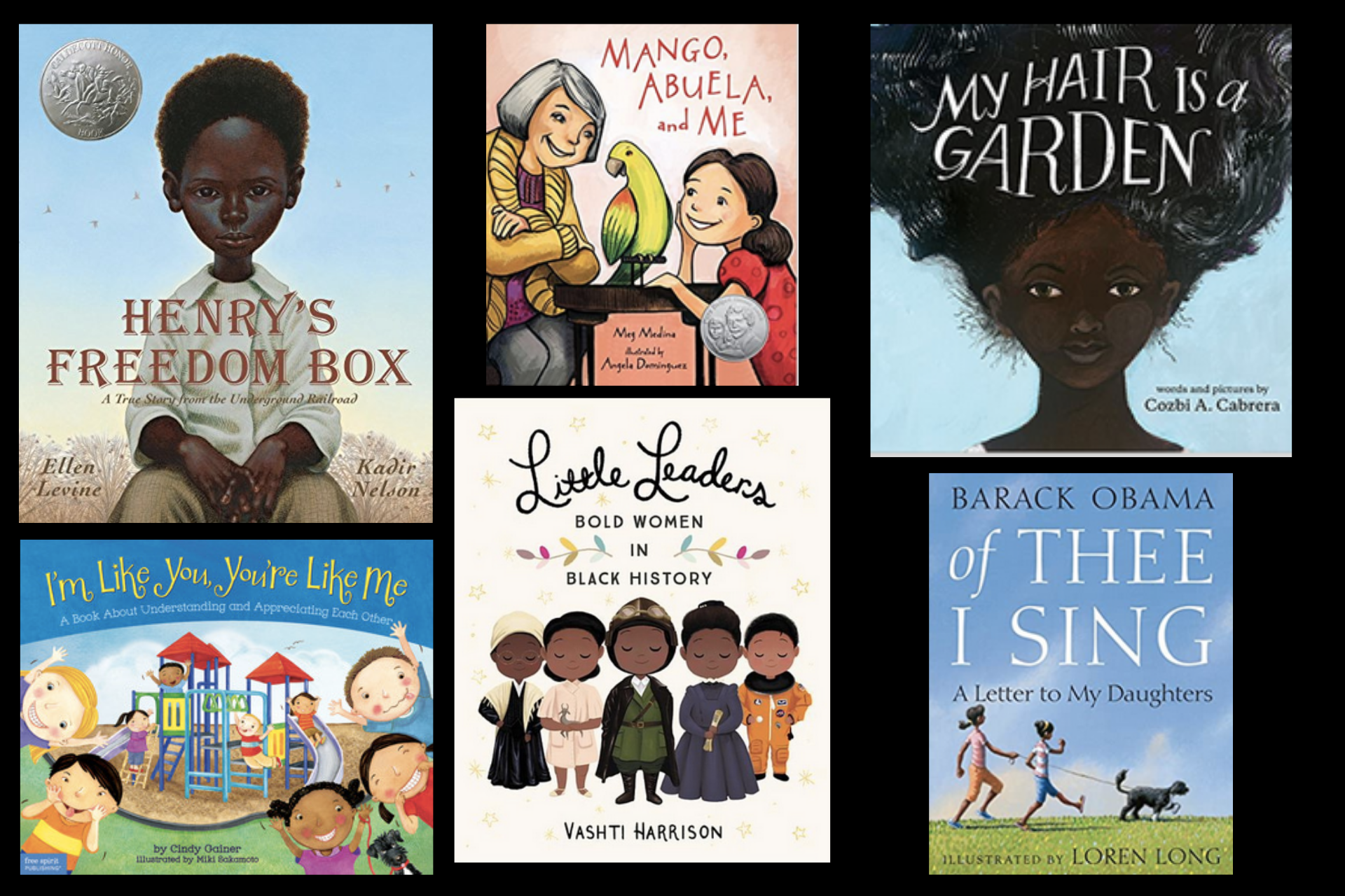 An image of several book covers about race for children