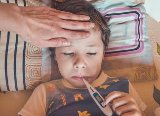 A child with a fever