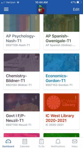 application showing high school classes