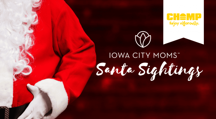 Where to see or Zoom with Santa in the Iowa City area