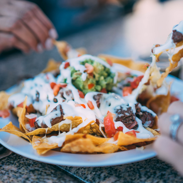 An image of nachos - an example of a fun weekend meal at home