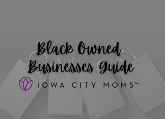 A graphic promoting Black Owned Businesses in the Iowa CIty Area