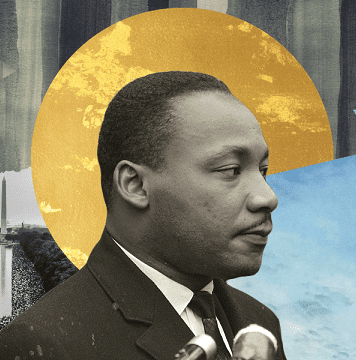 A graphic of Martin Luther King Jr. to promote MLK events in the Iowa City area
