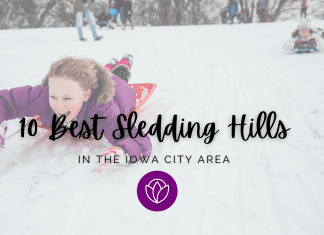 Ten Best Iowa City Sledding Hills graphic