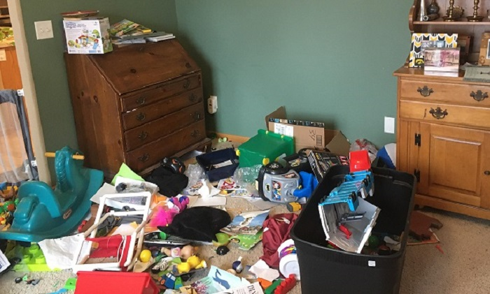 An image of a disorderly playroom