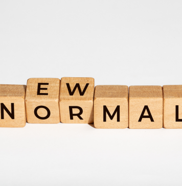 Graphic: blocks spelling new normal