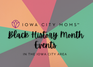 Graphic: Black History Month Events for Kids and Families in the Iowa City area