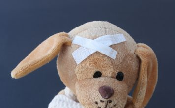 Injured stuffed animal representing Nursemaid's Elbow