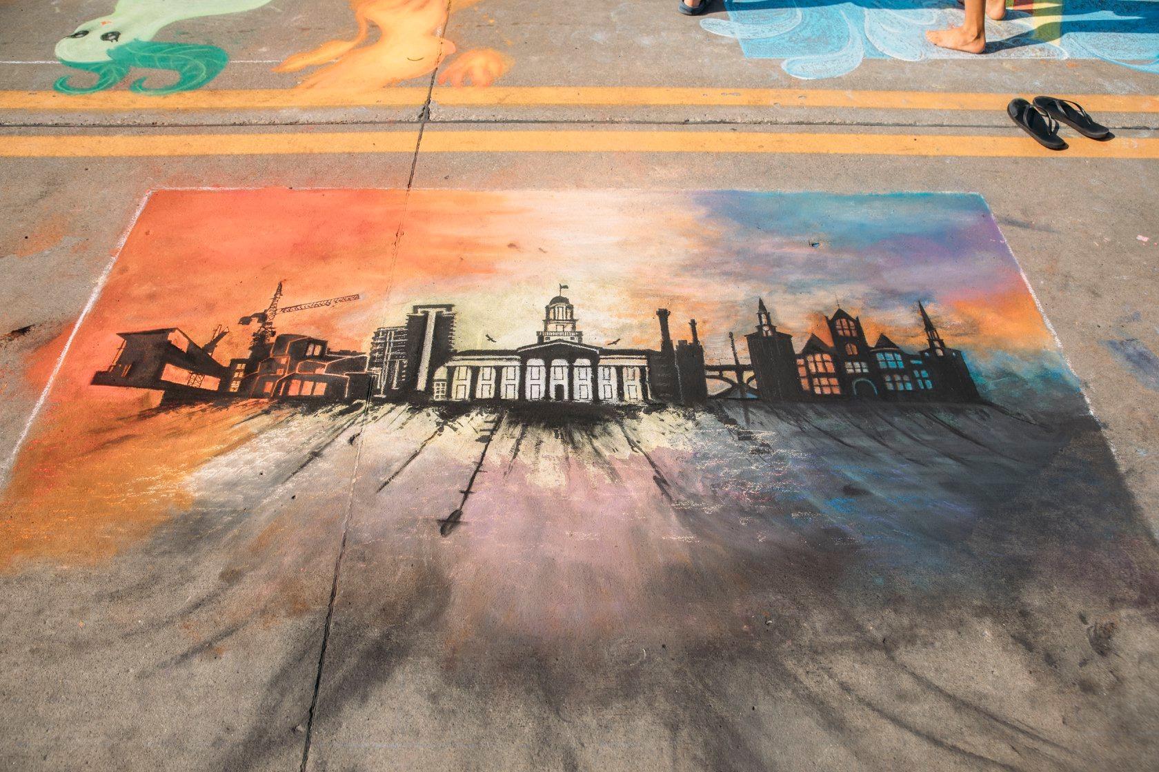 Rock the Chalk, downtown Iowa City