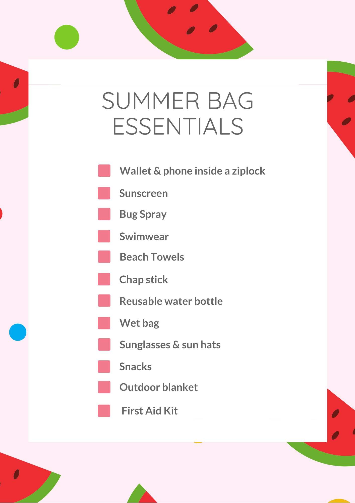 Summer Bag Essentials Graphic