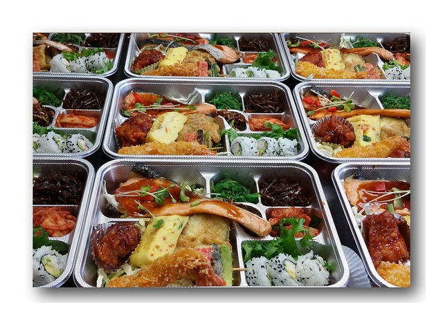several lunch trays